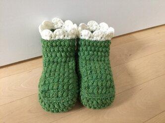 ぽこぽこ玉編みのルームブーツ(きみどり)の画像