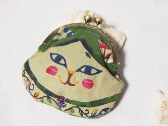 【送料無料】やっぱり猫が好き!手染め紅型(びんがた)の猫がま口/渋グリーンの画像