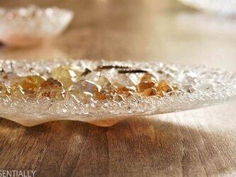ガラスのアクセサリートレイ -「 KAKERAの光 」 ● アプリコット・20cmの画像