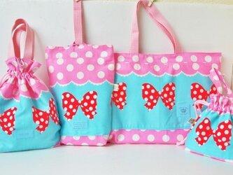 新色ブルー×ピンク系・大人気リボン柄入園入学4点セットの画像
