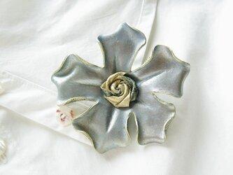 革のコサージュ ファイブスター(ブロンズブルー)の画像