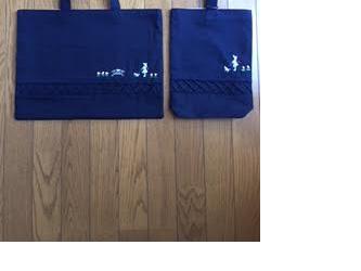 通園通学★お勧めの紺色レッスンバッグ・くつ入れのセットの画像