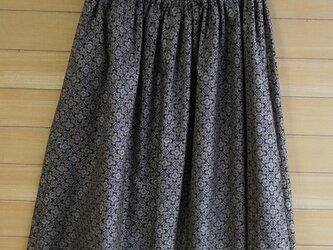 大島紬 茶色小紋 お出かけスカート&ストールの画像
