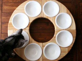 木製フードテーブル バウム/フルセット(フードボウル13.5cm付)13.CATS.WORKSオリジナルの画像