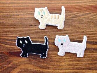 刺繍猫ブローチ 「マンチカン」の画像
