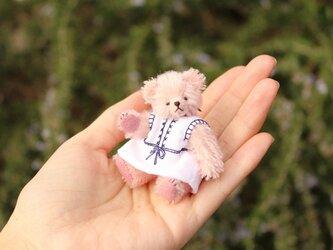 ミニチュアテディベア ピンク 紺刺繍ワンピースの画像