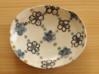 ※受注制作 粉引きブルーのお花のオーバル皿。の画像