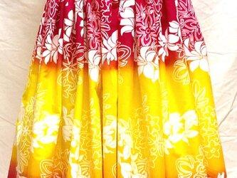 シングルパウスカート フラワーレイ柄 スカート丈74cm イエロー pu-154s74の画像