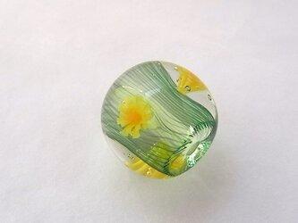 ひだ紋球・たんぽぽ3・ガラス製・とんぼ玉の画像