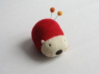 羊毛はりねずみ針山・・・(いちご)の画像