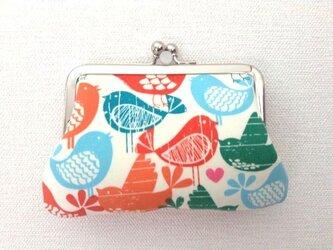【受注制作】小鳥たち - がま口ポーチ/カードケース/小銭入れ/財布の画像