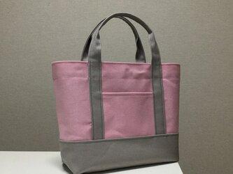 受注製作 トートバッグ 「 サクラ 」( パステルピンク × パステルグレー ) 」の画像