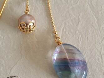 天然石とパールの帯飾り《フローライト(蛍石)/グリーン》【送料無料】の画像