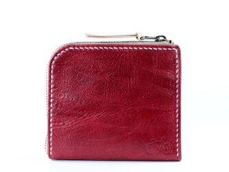 L字ファスナーのポケット財布(ワイン)の画像