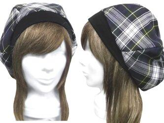 先染めチェック柄コットン地/リブ付ベレー帽(ゆったり)◆ブルー×グリーンmixの画像