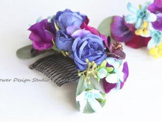 青紫の春のお花のヘッドドレス(5点セット)の画像