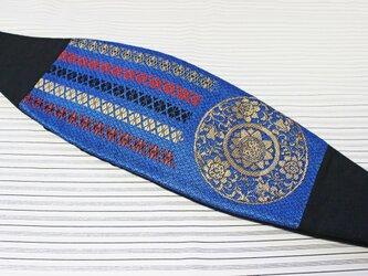 博多織カマーベルト フォーマル 礼装 ブルー ゴールド 青×金(KM-13)の画像