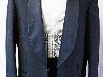 博多織カマーベルト フォーマル 礼装 ホワイト モノトーン 白黒 ブラック(KM-14)の画像