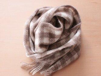【カシミヤ・手紡ぎ・手織り】 マフラー 自然色のホワイト×ブラウン 格子柄 の画像