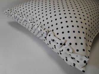 リボン付きかわいいドット柄枕カバーの画像