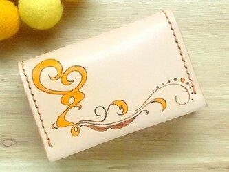 【名入れ無料】【名入れ無料】オトナ☆かわいい カードケース 名刺入れ 本革 オレンジの画像