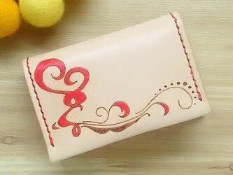 【名入れ無料】【名入れ無料】オトナ☆かわいい カードケース 名刺入れ 本革 レッドの画像