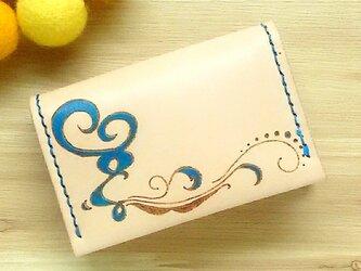 【名入れ無料】【名入れ無料】オトナ☆かわいい カードケース 名刺入れ 本革 ブルーの画像