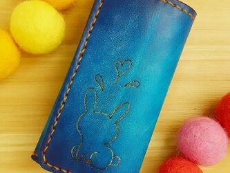 【名入れ無料】オトナ☆かわいい キーケース 4連 本革 ブルー グラデーション  うさぎの画像