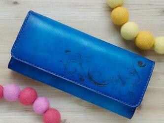 【名入れ無料】オトナ☆かわいい 長財布 本革 ブルー グラデーション ハイビスカスの画像