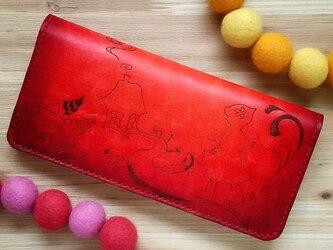 【名入れ無料】赤ずきん☆ 長財布  本革 赤 グラデーション 赤ずきん ウルフの画像