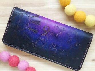【名入れ無料】不思議の国のアリス☆ 長財布  本革 ブラック パープル  うさぎの画像