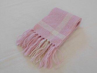 手織りマフラー 春色ピンクの画像
