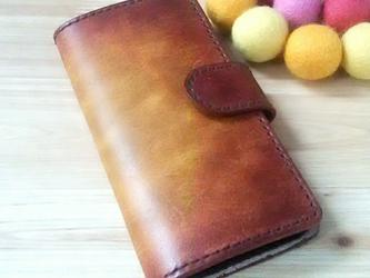 【名入れ無料】iPhone [6/6S/7]  手帳型ケース 本革 ブラウン シンプルの画像