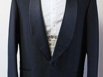 博多織カマーベルト フォーマル 礼装 白 ホワイト 植物柄 ブラック(KM-17)の画像