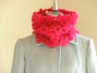 ウールモヘアのふわふわ花のネックウォーマー*赤の画像