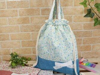 ナップサック型:花柄&リボンの着替え袋(体操着袋)の画像