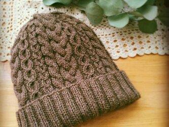 再販☆フェルトタッチのケーブル編みニット帽【ココア】の画像