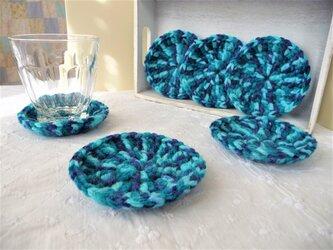 かぎ針編みのコースター 6枚組 (青緑系)の画像