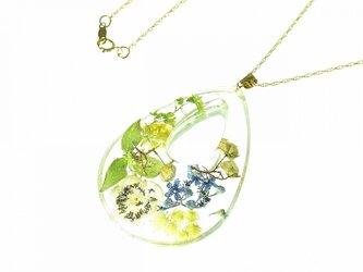 山野草 森の花の大きな雫のペンダント(エンレイソウ・サルナシ・ハハコグサ…)・14kgfの画像