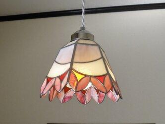 ペンダントライト・ピンクのお花ブーケ(ステンドグラス)天井のおしゃれガラス照明 Lサイズ・8の画像