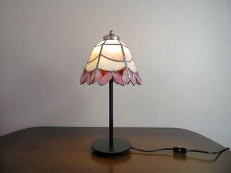ピンクのお花ブーケ(ステンドグラスランプ)ガラス照明・ガラス  Lサイズ・8の画像
