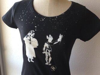 手刷りTシャツ Ladies S【子どもたち T5】の画像