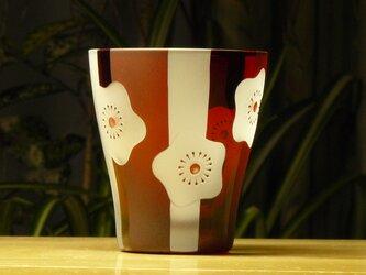 白梅フリーグラス 無色×赤 (1個)の画像