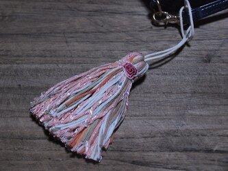 【完売】❁フレンチアンティークのお花タッセル❁クラシカルで艶っぽい薔薇のレース スパンコール ラメ 帯飾り・キーホルダー ピンクの画像