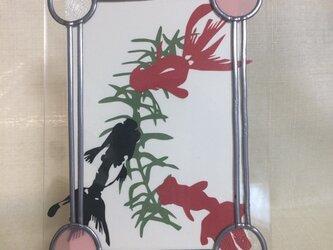 グラスアートのフォトフレーム(金魚)の画像
