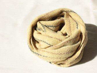 【カシミヤ・手紡ぎ・手織り】 ニンジンの葉の黄色 クルミの茶の画像