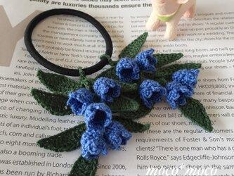 *受注制作*ダブル小花のヘアゴム(濃青)の画像
