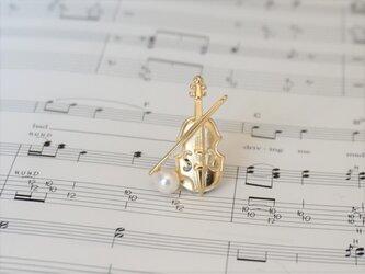 ピンブローチ 音楽隊シリーズ(バイオリン・金色)の画像
