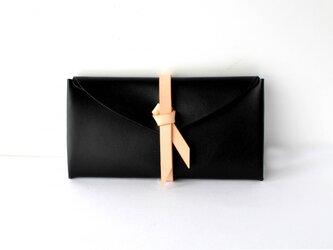ori long wallet / 折りロングウォレット #黒 x ベージュの画像