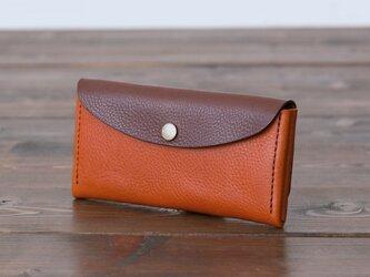 イタリア製牛革のコンパクトな長財布コンビ  /  ライトブラウン /  ダークブラウン  ※受注製作の画像